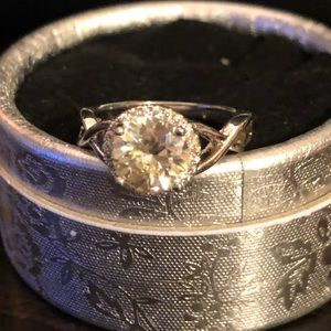 Jewelry - 2 carat colorless/white moissanite Halo ring